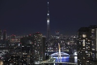 勝どきより望む隅田川と東京スカイツリーの夜景 02350002796| 写真素材・ストックフォト・画像・イラスト素材|アマナイメージズ