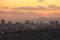 神戸市灘区付近から眺める神戸港と三宮方面の夕景 02350002982| 写真素材・ストックフォト・画像・イラスト素材|アマナイメージズ