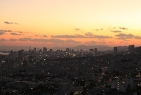 神戸市灘区付近から眺める神戸港と三宮方面の夕景 02350002983| 写真素材・ストックフォト・画像・イラスト素材|アマナイメージズ