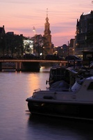 夕暮れのアムステル川とムントタワー 02350003101| 写真素材・ストックフォト・画像・イラスト素材|アマナイメージズ