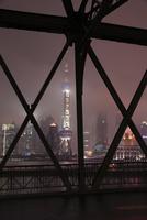 外白渡橋から望む浦東の高層ビルの夜景