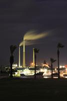 晴海親水公園から眺める工場の夜景 02350003319| 写真素材・ストックフォト・画像・イラスト素材|アマナイメージズ