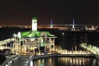 臨港パークから眺める横浜ベイブリッジとぷかり桟橋の夜景