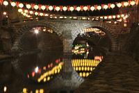 眼鏡橋と長崎ランタンフェスティバルの提灯