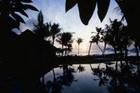 朝焼けのリゾートのプール