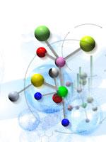 透明の球体と分子模型