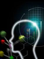人間の頭と分子イメージ