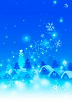 雪降る家並み