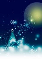 クリスマスツリーと雪降る家並み