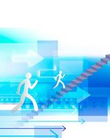 矢印と階段を上る人 02362000069| 写真素材・ストックフォト・画像・イラスト素材|アマナイメージズ