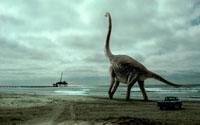 ビーチを歩くブラキオザウルス