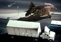 走行するトラックとペンタケラトプス 02364000011| 写真素材・ストックフォト・画像・イラスト素材|アマナイメージズ