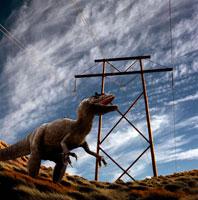 アロサウルスと鉄柱