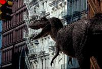 街を歩くティラノサウルス