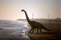 ビーチに立つブラキオザウルス