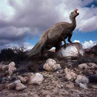 岩の上に立つシャントゥンゴサウルス 02364000029| 写真素材・ストックフォト・画像・イラスト素材|アマナイメージズ
