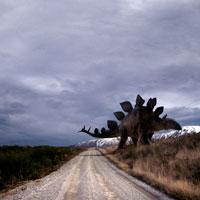 道を横切るステゴザウルス