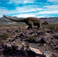 荒野を歩くアンキロサウルス