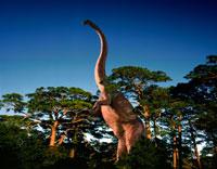 木の間に立つマメンチサウルス 02364000036| 写真素材・ストックフォト・画像・イラスト素材|アマナイメージズ