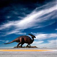 アスファルトを歩くパラサウロロフス 02364000039| 写真素材・ストックフォト・画像・イラスト素材|アマナイメージズ
