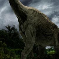 ジャングルの中を歩くブラキオサウルス