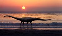 夕暮れの海辺を歩くセイスモサウルスとサーファー