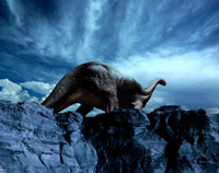崖沿いを歩くクラスモドサウルス