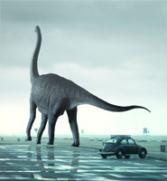 歩くブラキオサウルスと車 02364000064| 写真素材・ストックフォト・画像・イラスト素材|アマナイメージズ