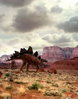 荒野を歩くステゴザウルス