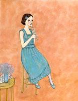 縦笛を吹く女性