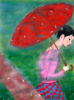赤い傘を差す女性