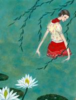 水の中を歩く女性