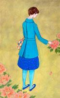 ピンクの花と女性