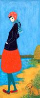水辺に立つ女性と犬