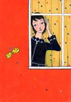 蝶と窓から覗く女性