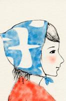 青い頭巾をかぶった女性の横顔