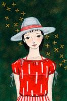 白い帽子をかぶった女性