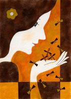 蝶と女性の横顔 02369000023| 写真素材・ストックフォト・画像・イラスト素材|アマナイメージズ