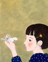 白い小鳥と女性 02369000024| 写真素材・ストックフォト・画像・イラスト素材|アマナイメージズ