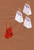 買い物袋と赤い鞄