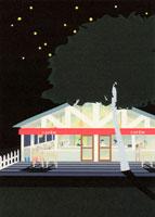 星空とお店の明かり
