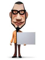 ホワイトボードを持った男性人物クラフト 02374000093| 写真素材・ストックフォト・画像・イラスト素材|アマナイメージズ