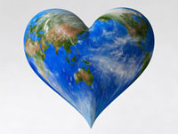 ハート型の地球イメージ