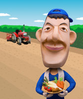 トラクターと畑を背景に農作物を持ち微笑む青年男性