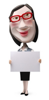 メッセージボードを持った女性事務員クラフト 02374000178| 写真素材・ストックフォト・画像・イラスト素材|アマナイメージズ
