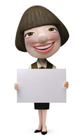 メッセージボードを持った女性事務員クラフト 02374000180| 写真素材・ストックフォト・画像・イラスト素材|アマナイメージズ