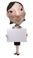 メッセージボードを持った女性事務員クラフト 02374000181| 写真素材・ストックフォト・画像・イラスト素材|アマナイメージズ