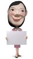 メッセージボードを持った女性事務員クラフト 02374000182| 写真素材・ストックフォト・画像・イラスト素材|アマナイメージズ