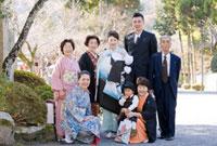 お宮参りと七五三の家族