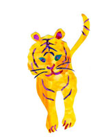 イラストコラージュ 黄色いトラ